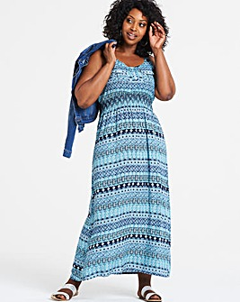 Apricot Blue Printed Maxi Dress