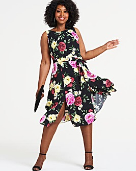 Apricot Floral Printed Midi Dress