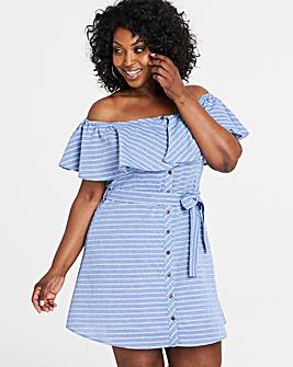 Apricot Striped Bardot Dress
