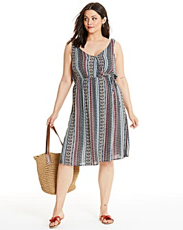 Apricot Stripe Midi Dress
