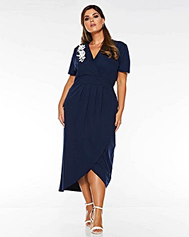 Quiz Embroidered Wrap Dress