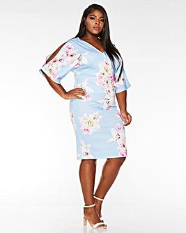 Quiz Blue Floral Bodycon Dress