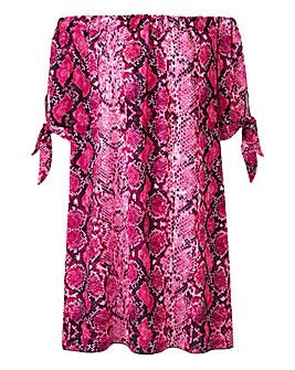 Quiz Snake Print Bardot Dress