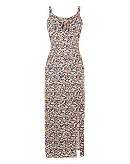 Oasis Ditsy Column Split Midi Dress