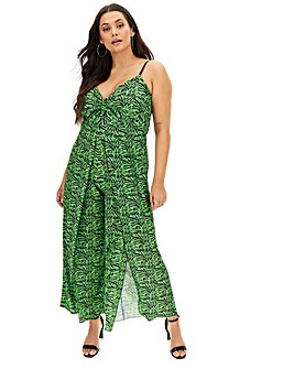 Lasula Green Zebra Split Jumpsuit