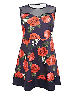 Quiz Rose Print Fit & Flare Dress