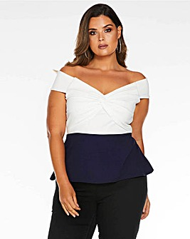 Quiz Twist Front Bardot Top