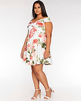 Quiz Floral Bardot Skater Dress