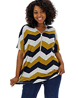 Apricot Chevron Zip Top