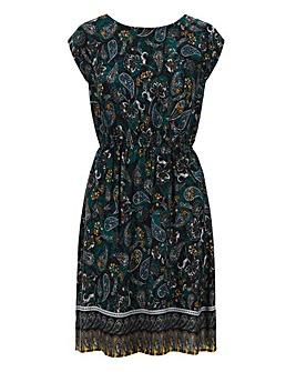 Apricot Printed Paisley Dress