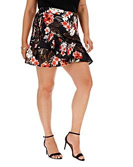 Pink Clove Tropical Wrap Mini Skirt
