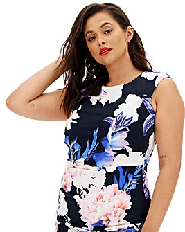 Coast Blue Floral Sateen Midi Dress