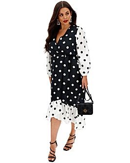 Coast Polka Dot Wrap Midi Dress