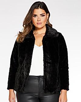 Quiz Faux Fur Cropped Jacket