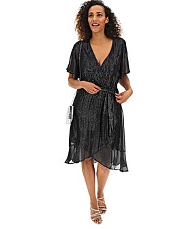 Lovedrobe Silver Stripe Wrap Dress
