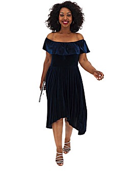 Lovedrobe Velvet Bardot Asymmetric Dress