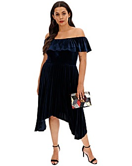 Lovedrobe Velvet Bardot Asymmetric Dress