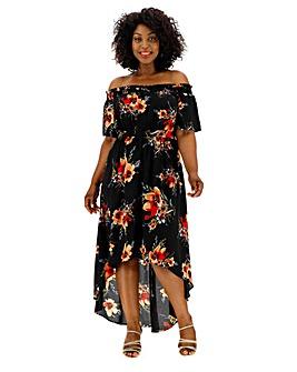 Lovedrobe Printed Bardot Dip Hem Dress