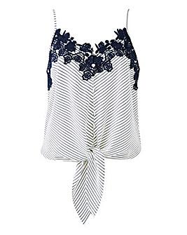 Oasis Curve Stripe Lace Trim Tie Cami
