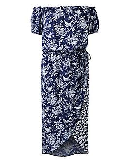Oasis Curve Poplin Bardot Midi Dress