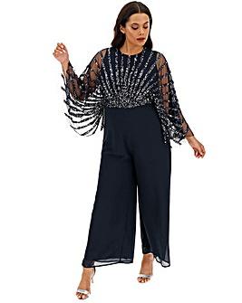 Maya Curve Sequin Mesh Bodice Jumpsuit