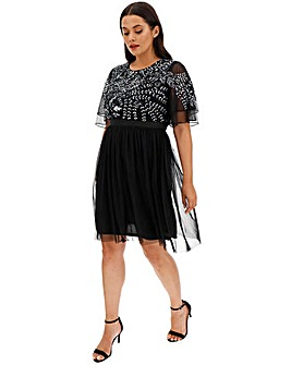 Maya Curve Flutter Sleeve Embellished Dress