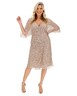 Maya Curve Sequin Wrap Midi Dress
