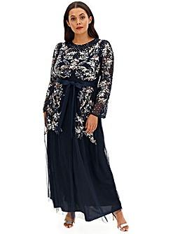 Maya Curve Long Sleeve Mesh Maxi Dress
