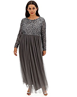 Maya Curve Sequin Bodice Maxi Dress