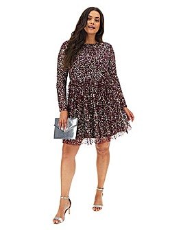 Maya Curve Sequin Skater Dress