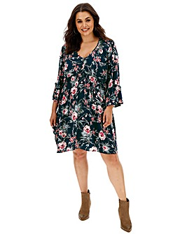 Band of Gypsies Floral V Neck Dress