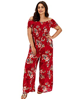 Band of Gypsies Bardot Wide Leg Jumpsuit