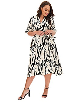 Glamorous Abstract Print Wrap Dress