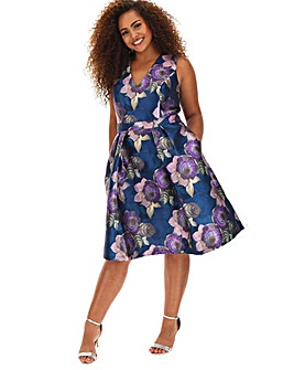Chi Chi James V neck Floral Skater Dress