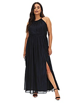 Little Mistress Foil Blue Maxi Dress