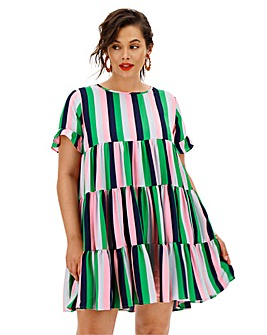 AX Paris Candy Stripe Tiered Dress