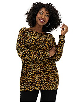 Apricot Animal Print Long Sleeve Jumper