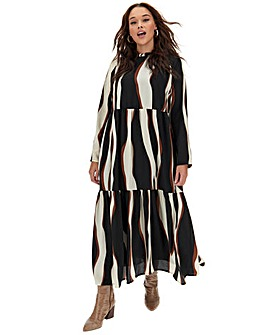 Vero Moda Animal Print Tiered Maxi Dress