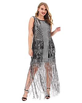 A Star Is Born Silver Studded Maxi Dress