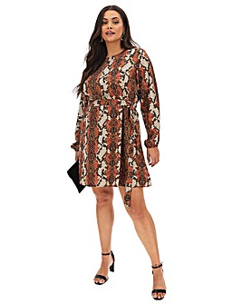 AX Paris Belted Snake Print Dress