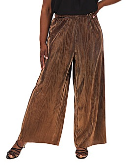 Vero Moda Metallic Plisse Wide Leg Pants