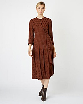 Hobbs Hazel Polka Dot Wrap Midi Dress