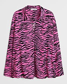 Violeta By Mango Zebra Print Blouse