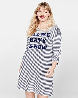 Violeta By Mango Stripe Slogan Dress