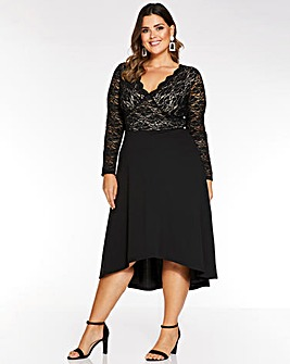 Quiz Sequin Lace Wrap Midi Dress