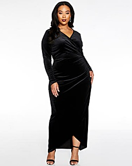Quiz Wrap Ruched Maxi Dress