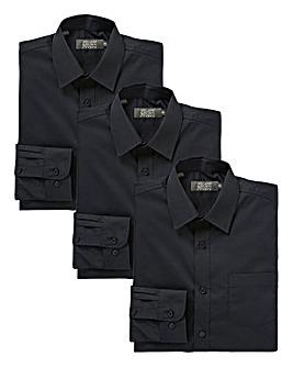 W&B London Pack of 3 Black L/S Shirts L