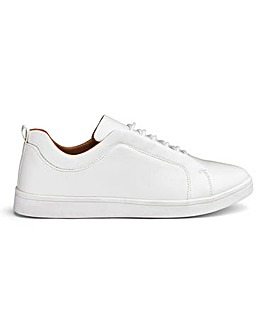 White Leather Look Lace Trainers Standard Fit
