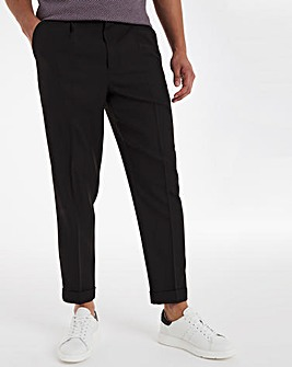 Black Tapered Trousers With Turn Up