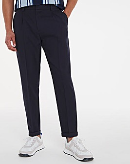 Navy Tapered Trousers With Turn Up